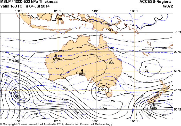 02Jul14 5-MSLP 1000-500hPa Thickness