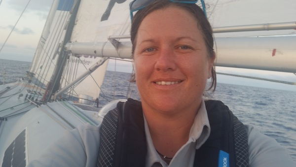 Lisa Blair on bow of her boat during Around Australia record chase Lisa Blair pic